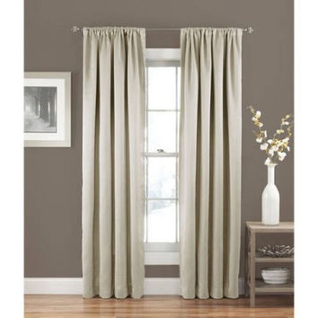 "Eclipse Solid Thermapanel Room-Darkening Curtain, Stone, 54"" x 63"""