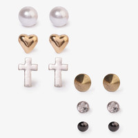 Heart Spike & Cross Stud Set