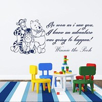 Wall Decals Quotes Vinyl Sticker Decal Quote Winnie the Pooh As Soon As I Saw You, I Knew An Adventure Nursery Baby Room Kids Boys Girls Home Decor Bedroom Art Design Interior NS815