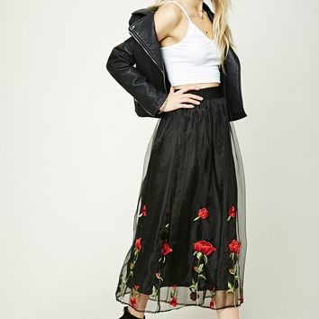 Rose Embroidered Maxi Skirt