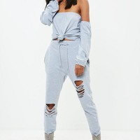 Missguided - Grey Bardot Tie Front Elasticated Cuff Crop Top