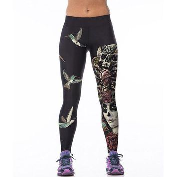 DCCKH6B Sporting Fitness Leggings Stretchy Trousers Pants Sexy Hips Push Up Leggins Mujer Women Fashion Birds Skull Printed Capris 75Z