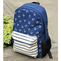 Small pure and fresh and Marine institute wind wind anchor stripe backpack