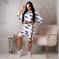 FENDI New Fashion Women Personality Print Long Sleeve Top Shorts Set Two-Piece White