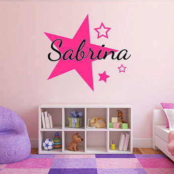 Personalized Stars Name Monogram Girls Bedroom Vinyl Wall Decal Graphics Bedroom Home Decor