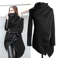 Women Female Long Jacket Warm Woolen Coat Blazer Zip Parka Windbreaker  Black 7_S [8384166471]