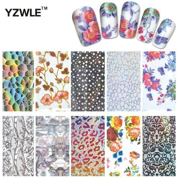 YWK 10 Pcs DIY Nail Art Transfer Foil Decal Beauty Craft Decorations Accessories For Manicure Salon #XKT-N21