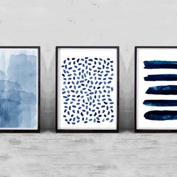 Abstract Watercolor Prints Set of 3 Paintings Indigo Blue Navy Wall Art Dots Stripes Dashes Brushstrokes Paint Strokes Minimalist art Boho