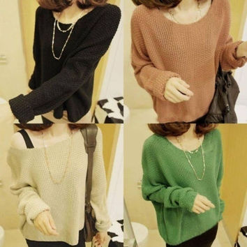 NEW Women Batwing Long Sleeve Crew Neck Pullover Oversize Knit Sweater Coat QWB = 1945901444