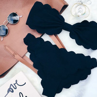 FASHION CUTE STRAPLESS SCALLOPED BLACK TWO PIECE BIKINIS
