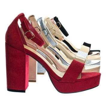 Current02Bamboo Block Heel Platofrm Open Toe Dress Sandal w Ankle Strap