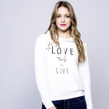 Sudadera blanca Love the life
