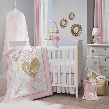 Lambs & Ivy Layla Pink/Gold Hearts & Love 4-Piece Nursery Baby Crib Bedding Set