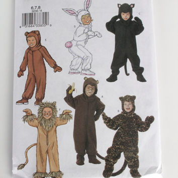 Childrens Halloween Costume Pattern New uncut Butterick bear rabbit black cat lion monkey leopard sizes 6 7 8
