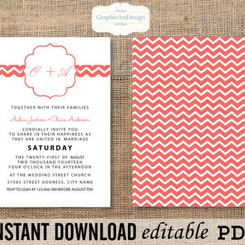 Coral Chevron Wedding Invitation Printable Editable PDF (Fonts, Colors, Size) Text That You Personalize with Adobe Reader - Instant Download