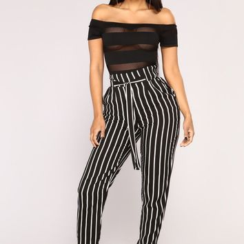 Womens High Waist Paperbag Cigaratte Striped Trousers Ladies Pants OL Work Size