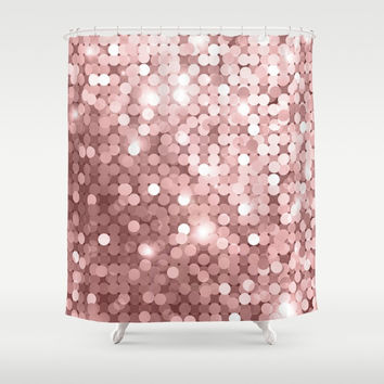 Rose gold glitter Shower Curtain by printapix