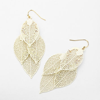 White Cluster Cut-Out Leaf Earrings