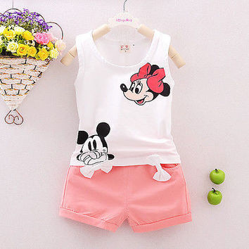 Summer 2PCS Kids Baby Girls Floral Vest Top Shorts Pants Set Clothes Girls Clothing Sets