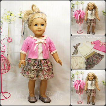 American Girl Doll Clothes 6 pc Ruffle Chiffon Skirt Set Pink Brown Cream Spring Flowers