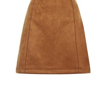 Tan Suedette A-Line Mini Skirt | New Look