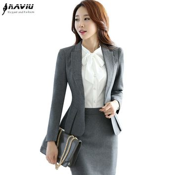 High quality new fashion women suits slim work wear office ladies long sleeve blazer skirt suits costumes for women with skirt