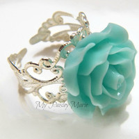 Rose Ring - Bridesmaid Ring , Aquamarine Rose Cocktail Ring , Statement Ring