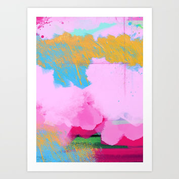 Golden and Pink Abstract Clouds Art Print by Oksana