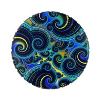 Funky Turquoise and Yellow Swirl Pattern Jelly Belly Tin