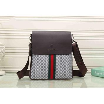 Gucci Fashion Unisex Leisure Red Blue Stripe Letter Print Leather Crossbody Satchel Shoulder Bag Briefcase Blue I-KSPJ-BBDL