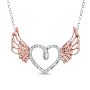 1/8 CT. T.W. Diamond Heart with Wings Pendant in Sterling Silver and 10K Rose Gold