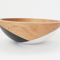 "10"" Cherry Wood Bowl, White and Black Crossed"