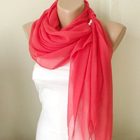 Red Grenadine Red  Cotton Spring Scarf by Periay on Etsy