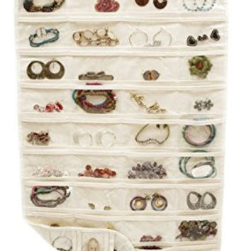 "OUR Fashion Wall Hanging Jewelry Organizer Holder 80 Pockets Double Sided Storage (Beige, 18"" W*35"" H)"