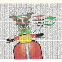 Dictionary Art Print Pizza Deliery Dog   Dictionary Art Print on Upcycle Vintage Page Book Print Art Print Dictionary Print Collage Print