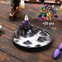 NOOLIM Ceramic Black Dragon Backflow Incense Burner Holder Aromatherapy Buddhist Censer Home Decoration Incense Cones 12.2x5.2cm