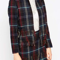 ASOS Premium Cropped Blazer in Check with Fringe Detail Co-ord
