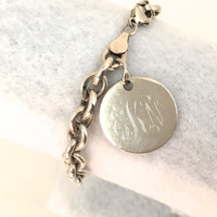 Sterling Silver Chain Link Bracelet with Charm - Add Your Own Monogram - Heavy Sterling - High End Looks at Bargain Price!