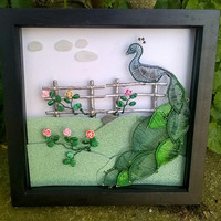 Wire Peacock Wall Art, Art Shadow Box Frame Decoration, Handmade Wire Wrapped Meadow Roses Sitting Peacock Wall Art, Unique Home Gift Idea