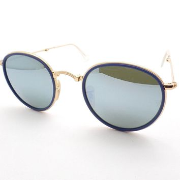 Ray Ban Folding 3517 001/30 Blue Gold Silver Mirror 48mm Sunglasses Authentic