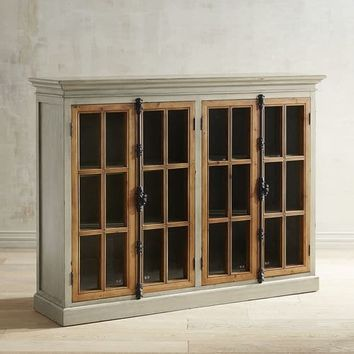 Cremone Linen Gray 4-Door Low Cabinet