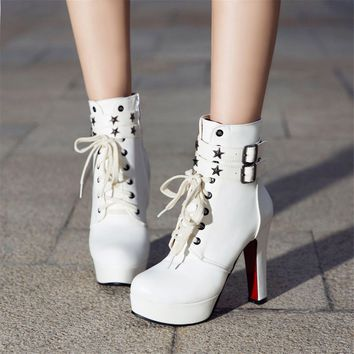 Rivets Straps Lace Up Platform Stiletto High Heels Short Boots