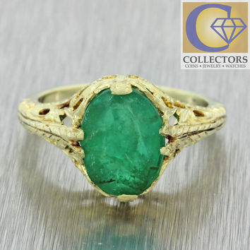 1930s Antique Art Deco 14k Solid Yellow Gold 2.48ct Emerald Engagement Ring