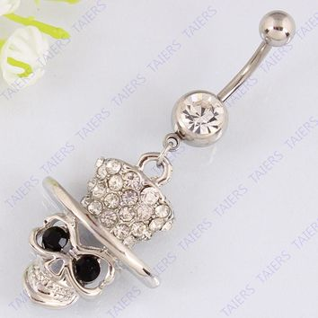 dd2b27437e0e Skull body piercing belly button ring Nickel-free surgical steel