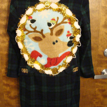 Green Plaid Christmas Dress with Reindeer
