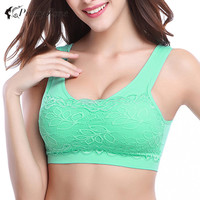 Plus Size Summer Sport Tank Tops Athletic Vest Lace Crop Tops Fitness Women Cropped Tank Top Seamless Padded Sports Bra