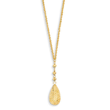 14k Puff Teardrop & Bead Lariat with 2in ext Necklace SF1897