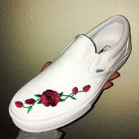 Vans Slip-On Canvas Rose Flower Embroidery Old Skool Sneakers Sport Shoes