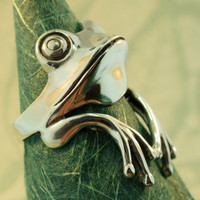 Silver Tree Frog Ring