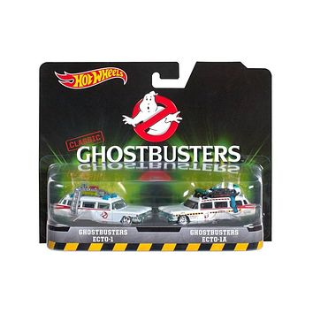 Ghostbusters Ecto 1 and Ecto 1A Set of 2 Cars Diecast Model Cars by Hotwheels